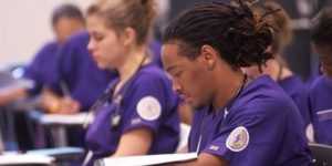 School of Nursing students review notes in class on the Alcorn State University, Natchez Campus.